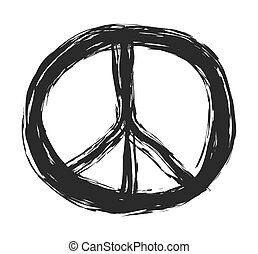 doodle grunge peace sign, vector