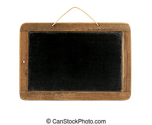 Black school board - Old Time Slate Writing Tablet isolated...