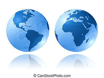blue glossy globes - two blue glossy earth globes on white...