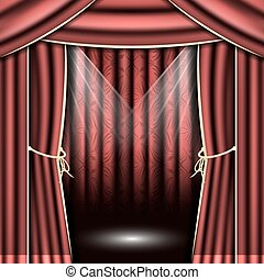 Red theater curtain with spotlights.