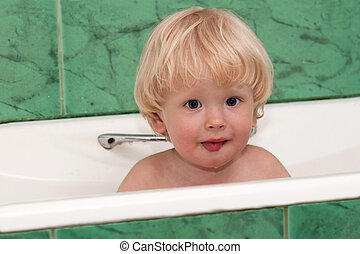 Cute, young boy take a bath - Cute, young boy wash in a bath...