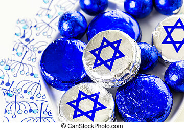Hanukkah - Chocolates with Star of David for Hanukkah.