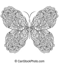 abstract butterfly on white background - Vector illustration...