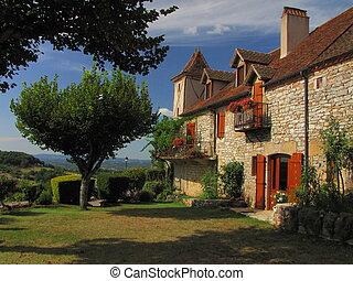 Village Loubressac, house, garden, - Valley of Dordogne ;...