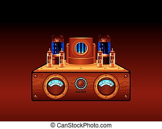 Steampunk amplifier - Abstract steampunk vacuum tube stereo...