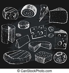 Cheese. Collection of graphic illustrations
