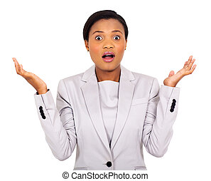 surprised young african businesswoman