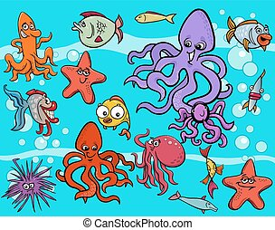 sea life group cartoon - Cartoon Illustrations of Funny Sea...