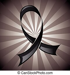 Black Ribbon Background - Stylized black ribbon, mourning...