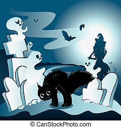 Cartoon Cemetery with Ghosts