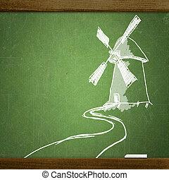 school blackboard - school sketches on blackboard, windmill
