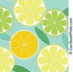 agrume, frutta, fondo, vettore, -, limone, calce, arancia