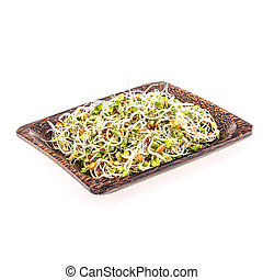 Mix of different sprouts in bamboo plate