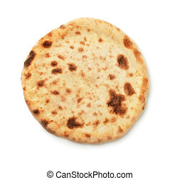 Flatbread - Top view of baked flatbread isolated on white