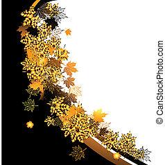 automne, frame:, Érable, feuille, endroit, ton,...