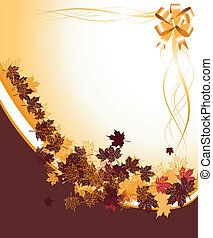 Autumn frame: maple leaf. Place for your text here.