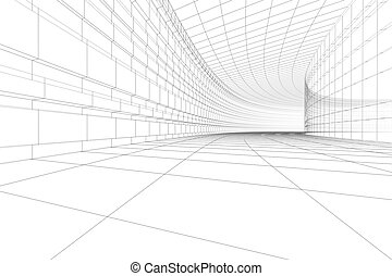 3D architectural construction - Abstract architectural BW...