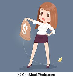 Losing money from a bag - Business woman losing money from a...