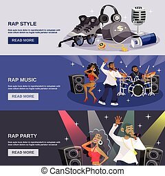 Rap Music Banner - Rap music horizontal banner set with...