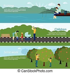 Fatherhood Horizontal Banners Set - Flat color fatherhood...