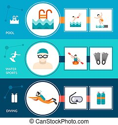 Swimming Banners Set - Swimming banners set with pool and...