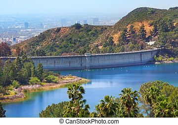 View of Mulholland Dam in Los Angeles, USA - View of...