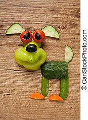 vegetal, perro, en, de madera, Plano de fondo,