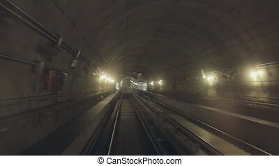 Shooting of the subways tunnel from subway car - Shooting of...
