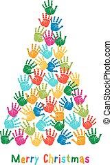 Handprint Christmas tree, vector - Colorful Christmas tree,...