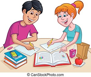 Teens Working On Homework At Lunch - Cartoon illustration of...