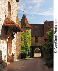 Village Loubressac, street, tower, - Valley of Dordogne ;...