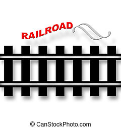 Railroad emblem with rails symbol over white background