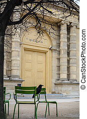 Raven sitting on a bench at the old Parisian street. Vertical scene with green chairs under a tree over blurry old building facade with yellow door and columns