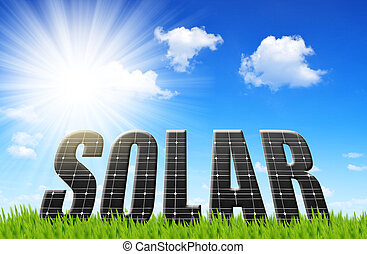 Solar energy panels on meadow Concept of clean energy