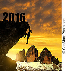 Concept New Year 2016 - Silhouette girls climbs into the New...