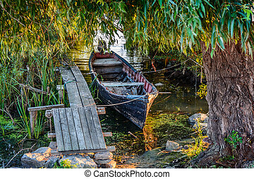 Old boat on the dock among the trees Rustic landscape with...