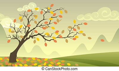 Autumn Landscape - Cartoon autumn landscape with falling...
