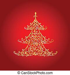 Christmas tree, golden ornament