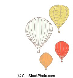 hot air balloons retro background drawing