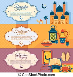 Islam Banners Set - Islam horizontal banners set with...