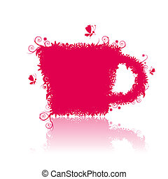 Floral tea, cup shape, vector illustration for your design