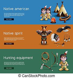 Native American Banners With National  Attributes