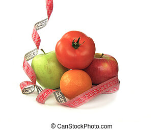 fruits diet and body care - fruits with centimeter tape