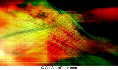 VJ wire frame orange green loop - Abstract VJ wire frame...