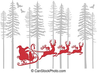 Santa Claus with his reindeer in fir forest, vector...