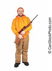 Hunter and His Riffle - isolated hunter smiling and holding...