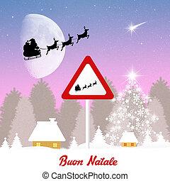 sleigh of Santa Claus sign