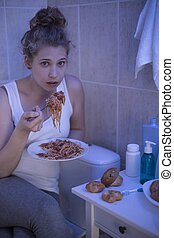 niña, y, bulimia,