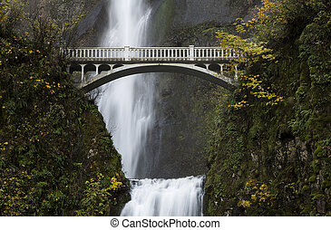Bridge, Multnomah Falls - An autumn view of the bridge over...
