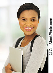 african american college student with laptop computer